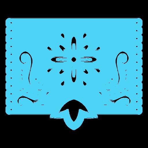 Mexican tropical floral stencil blue