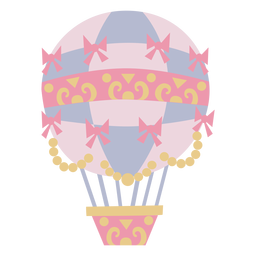 Ribbons floral checker pink hot air balloon