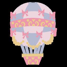 Rosa Heißluftballon mit Bändern und Blumenmuster