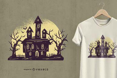 Diseño de camiseta de casa fantasmagórica de Halloween