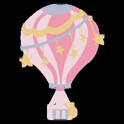 Balão de ar quente rosa estrelas