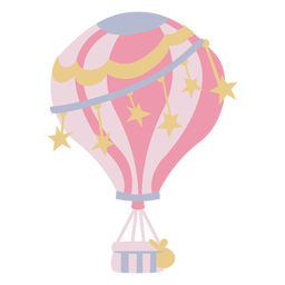 Stars pink hot air balloon