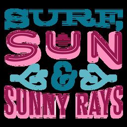 Letras havaianas ensolaradas de sol de surf