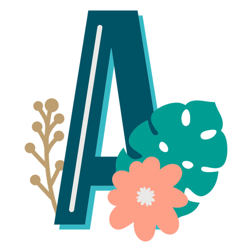 Tropical decorated capital letter a Transparent PNG
