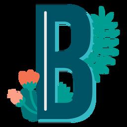 Letra maiúscula b com decoração tropical