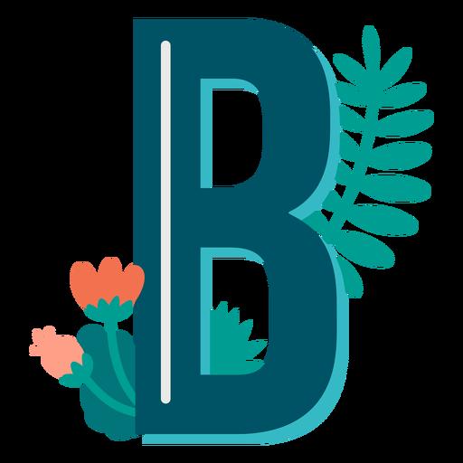 Letra mayúscula b decorada tropical