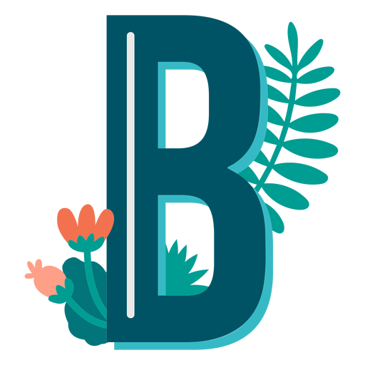Tropical decorated capital letter b Transparent PNG