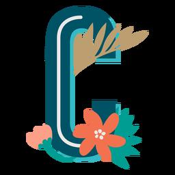 Letra c maiúscula com decoração tropical