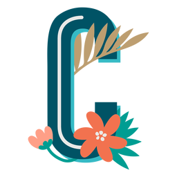 Tropical decorated capital letter c
