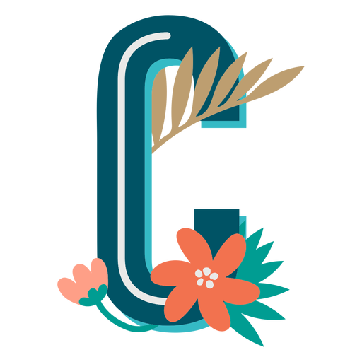 Tropical decorated capital letter c Transparent PNG