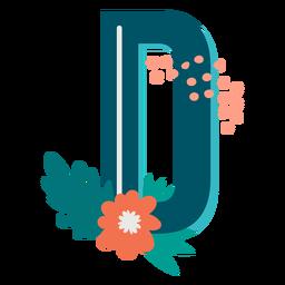 Letra maiúscula d decorada tropical