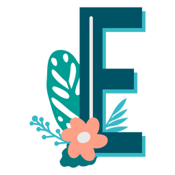Tropical decorated capital letter e