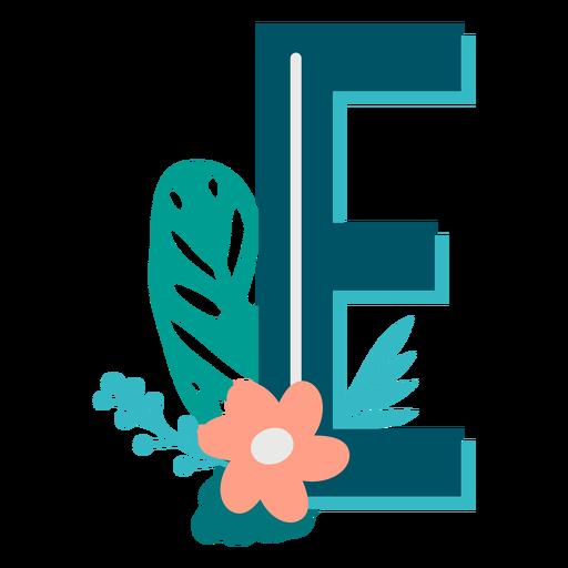 Letra mayúscula decorada tropical e