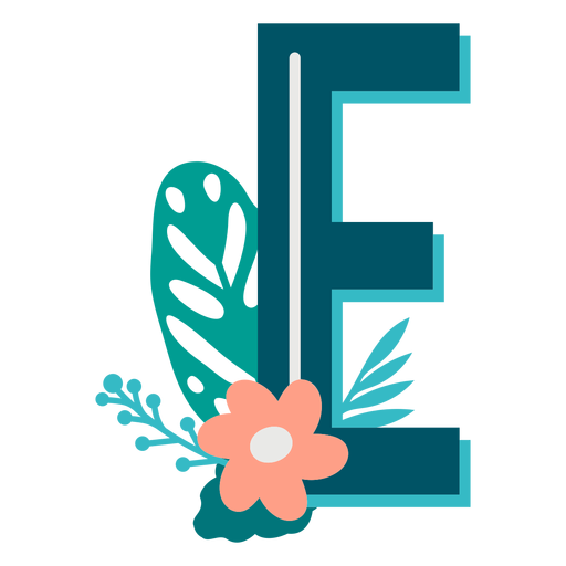 Tropical decorated capital letter e Transparent PNG