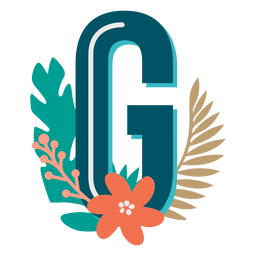 Tropical decorated capital letter g