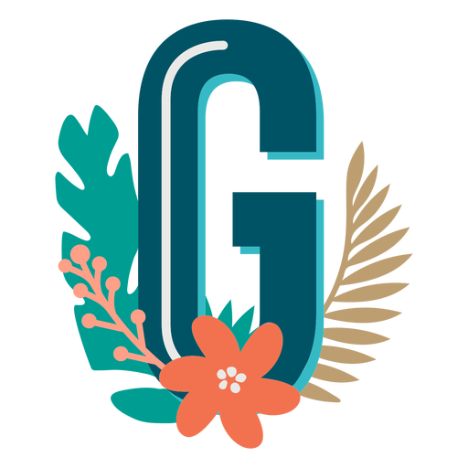 Tropical decorated capital letter g Transparent PNG