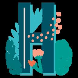 H maiúsculo com decoração tropical