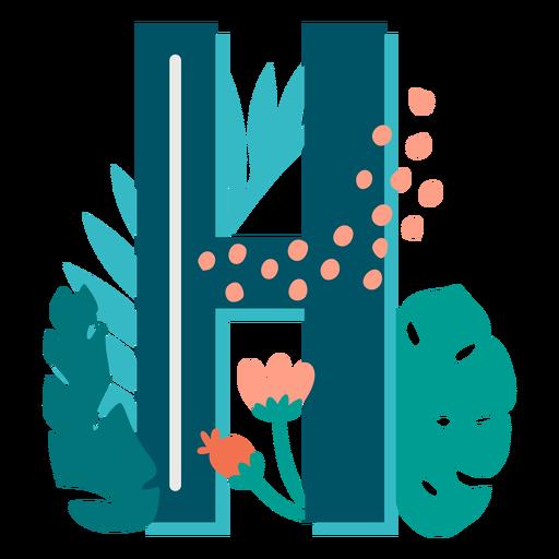 Letra mayúscula decorada tropical h Transparent PNG
