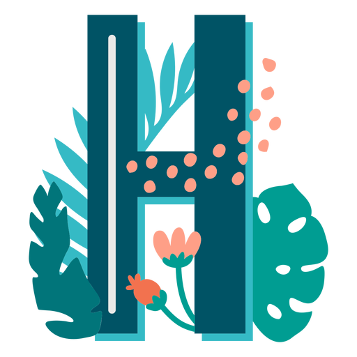 Letra mayúscula decorada tropical h
