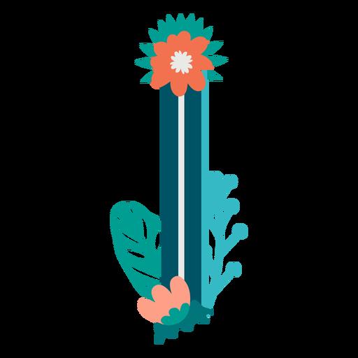 Letra mayúscula decorada tropical i