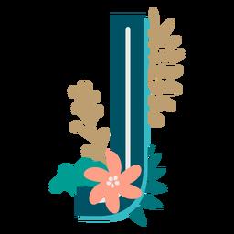 Letra maiúscula j com decoração tropical