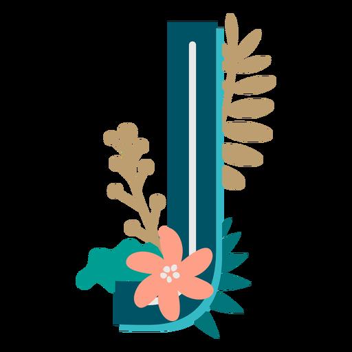 Letra mayúscula j decorada tropical
