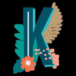Letra k maiúscula com decoração tropical