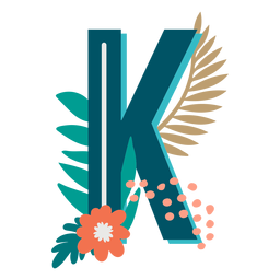Tropical decorated capital letter k