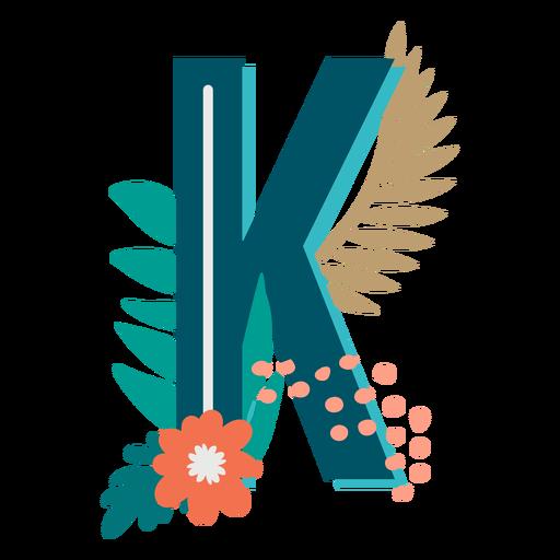 Letra mayúscula decorada tropical k
