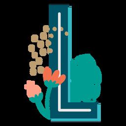 Letra maiúscula decorada tropical l