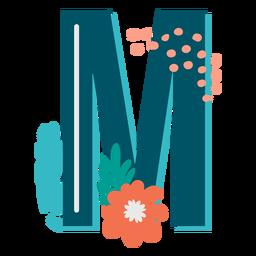 Letra maiúscula decorada tropical m