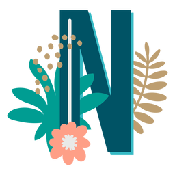 Letra maiúscula decorada tropical n