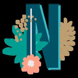 Letra n maiúscula decorada tropicalmente