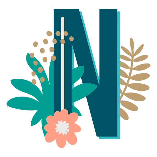 Tropical decorated capital letter n Transparent PNG