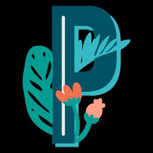 Letra mayúscula decorada tropical p