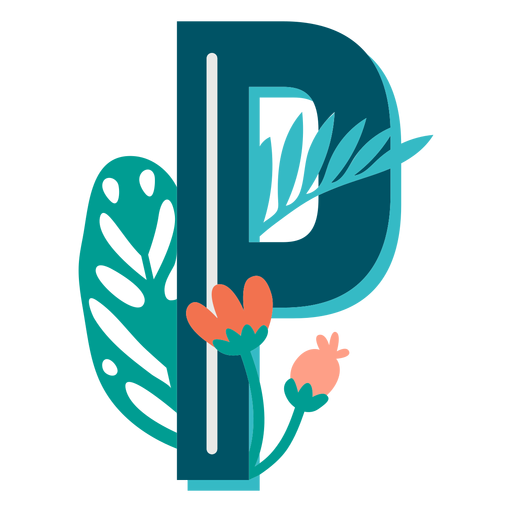 Tropical decorated capital letter p Transparent PNG