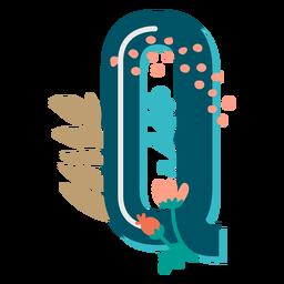 Letra maiúscula decorada tropical q