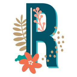 Letra r maiúscula com decoração tropical