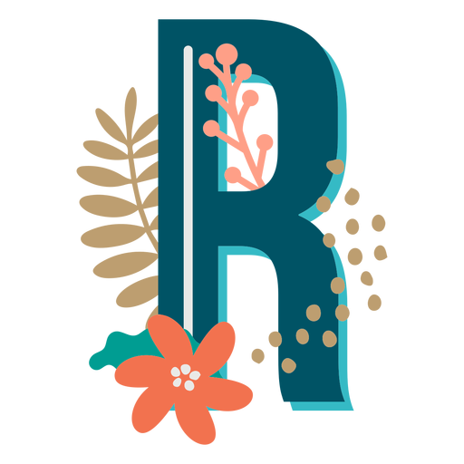 Tropical decorated capital letter r Transparent PNG