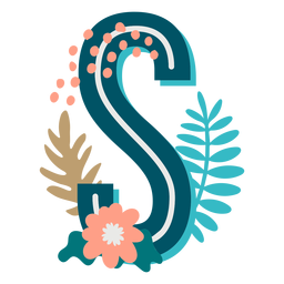 Letras maiúsculas decoradas tropicais s