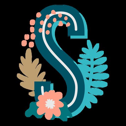 Letra mayúscula decorada tropical s