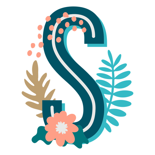 Tropical decorated capital letter s Transparent PNG