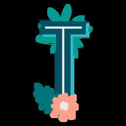 Letra maiúscula decorada tropical t