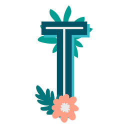 Letra mayúscula t tropical decorada