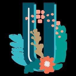 Letra mayúscula decorada tropical u