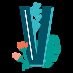Letra maiúscula decorada tropical v