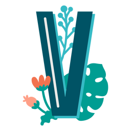 Tropical decorated capital letter v