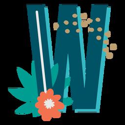 Letra maiúscula decorada tropical w