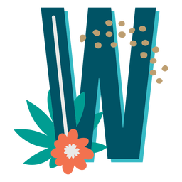 Tropical decorated capital letter w