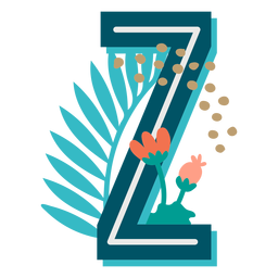 Letra mayúscula z decorada tropical